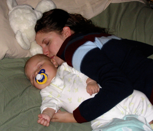 mommy and sleeping baby