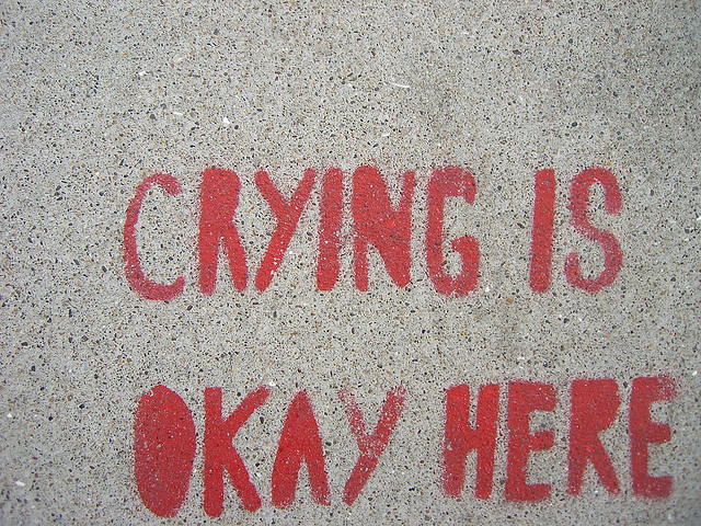 Cry Is Okay Here sign