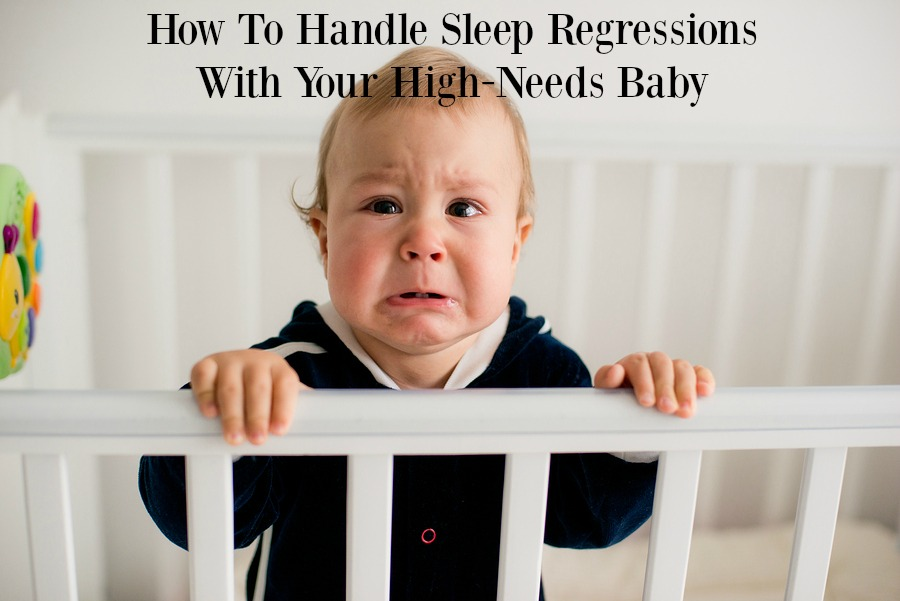 The baby cries and calls mom from a bed