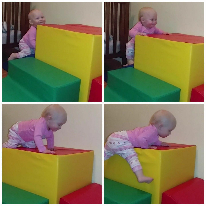 baby climbing on foamnasium