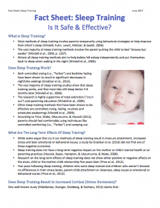 Sleep training fact sheet part I